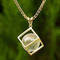 Gold plated quartz pendant necklace, 'Translucent Raindrop' - Gold Plated Crystalline Quartz Artisan Crafted Necklace