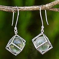 Quartz dangle earrings, 'Glistening Raindrops' - Clear Quartz and Sterling Silver Earrings from Thailand