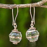 Quartz and rose gold plated dangle earrings, 'Icy Rain' - Clear Quartz and Rose Gold Plated Earrings from Thailand