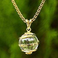 Gold plated quartz pendant necklace, 'Crystalline Spin' - Quartz Necklace in Gold Plated Sterling Silver from Thailand