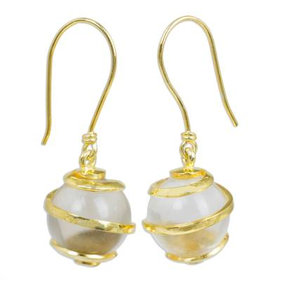 Quartz and gold plated dangle earrings, 'Golden Raindrops' - Artisan Crafted Quartz Dangle Earrings from Thailand