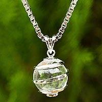 Quartz pendant necklace, 'Crystalline Spin' - Thai Sterling Silver Necklace with Crystalline Quartz
