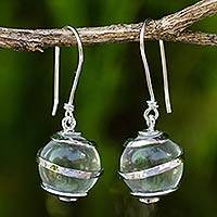 Quartz and sterling silver dangle earrings, 'Silver Raindrops' - Hand Crafted Clear Quartz and Sterling Silver Earrings