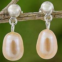 Cultured pearl dangle earrings, 'Romance in Peach'