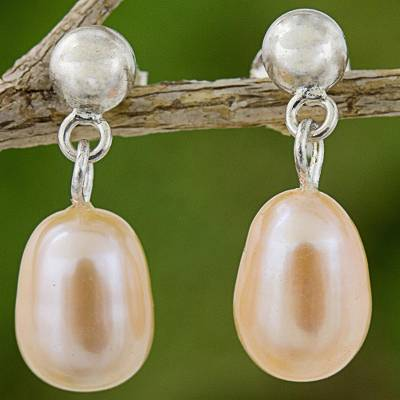 Cultured pearl dangle earrings, 'Romance in Peach' - Cultured Pearl Dangle Earrings Sterling Silver from Thailand
