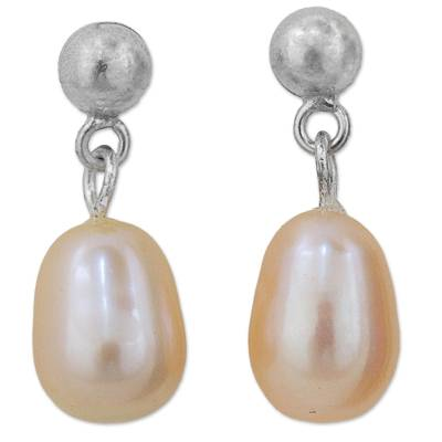 Cultured Pearl Dangle Earrings Sterling Silver from Thailand