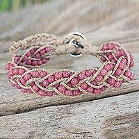 Rhodonite braided bracelet, 'Pink Hydrangea' - Women's Beaded Rhodonite Braids and Silver Button Bracelet