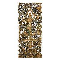 Teak relief panel, 'Good Prevails Over Evil' - Symbolic Hand Carved Teak Relief Panel with Angel Motif