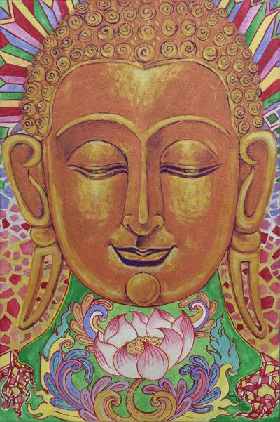 Colorful Acrylic on Canvas Painting Of Buddha