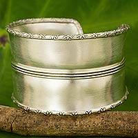 Silver cuff bracelet, 'Karen Rise' - Artisan Crafted Silver Cuff Bracelet from Thailand