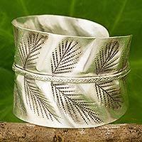 Silver cuff bracelet, 'Silver Leaf' - Hand Crafted Silver Cuff Bracelet with Leaf Motif