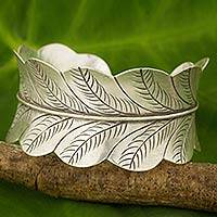 Silver cuff bracelet, 'Thai Leaves' - Hand Crafted Silver Cuff Bracelet with Leaf Motif