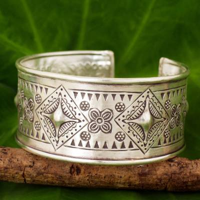 Silver cuff bracelet, 'Karen Happiness' - Artisan Crafted Silver Cuff Bracelet with Geometric Motif
