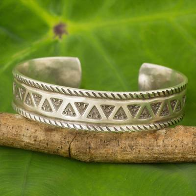 Silver cuff bracelet, 'Karen Stars' - Handmade Silver Cuff Bracelet with Star and Triangle Motif