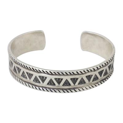 Silver cuff bracelet, 'Karen Stars' - Handmade Silver Cuff Bracelet with Star and Triangle Motif