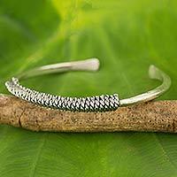 Silver cuff bracelet, 'Chain Wrap' - Artisan Crafted Silver Cuff Bracelet from Thailand