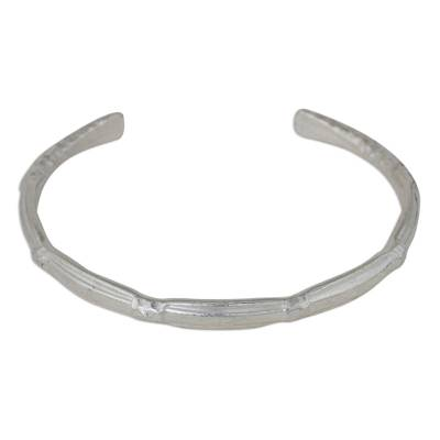 Silver cuff bracelet, 'Karen Bamboo' - Hand Crafted Silver 950 Cuff Bracelet from Thailand