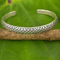 Silver cuff bracelet, 'Karen Snake' - Artisan Crafted Silver Cuff Bracelet from Thailand