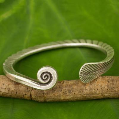 Silver cuff bracelet, 'Fern Wrap' - Handmade Thai Karen Hill Tribe Cuff Bracelet in 950 High Con