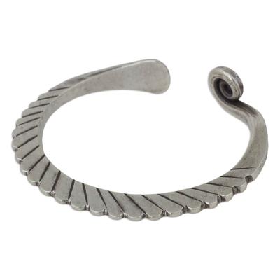 Silver cuff bracelet, 'Fern Wrap' - Thai Artisan Crafted Silver Cuff Bracelet
