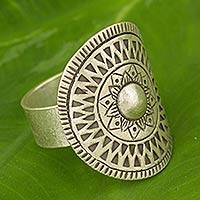 Silver cocktail ring, 'Karen Blossoming' - Handmade Thai Karen Hill Tribe Ring in 950 High Content  Ste