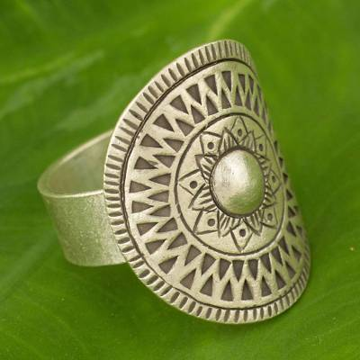 Silver cocktail ring, 'Karen Blossoming' - Hand Crafted Silver Cocktail Ring from Thailand