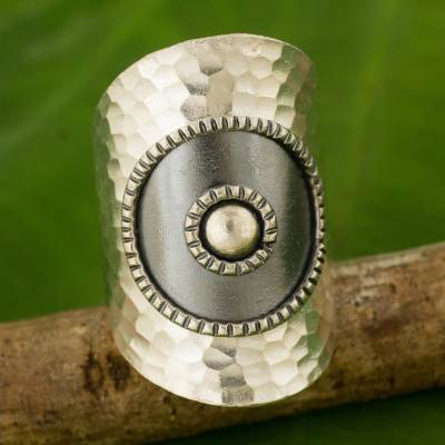 Silver wrap ring, 'Silver Sun' - Artisan Made Thai Silver Wrap Ring with oxidised Finish