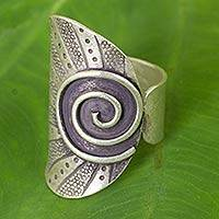 Silver wrap ring, 'Karen Rising' - Thai Hand Crafted Silver Wrap Ring with oxidised Finish