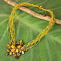 Tiger's eye beaded pendant necklace, 'Twigs and Flowers'