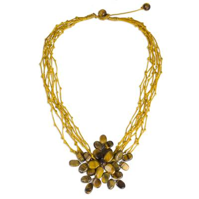 Tiger's eye beaded pendant necklace, 'Twigs and Flowers' - Multi Strand Necklace with Tiger's Eye Flower Pendant