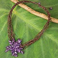 Amethyst beaded pendant necklace, 'Twigs and Flowers' - Multi Strand Amethyst Necklace with Flower Theme