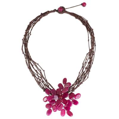 Flower Necklace with Dyed Pink Quartz and Brown Cords