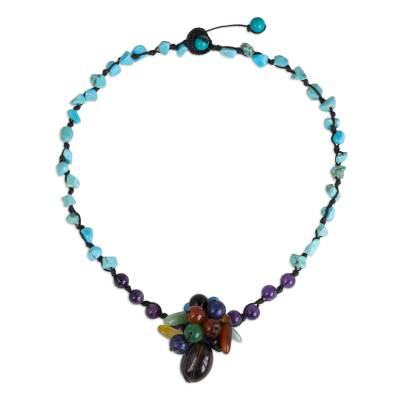Handmade Colorful Gemstone Pendant Necklace from Thailand