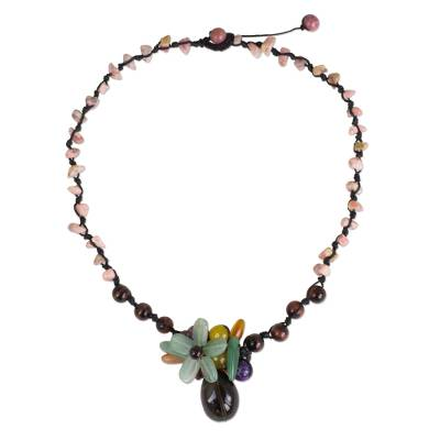 Hand Crafted Multicolored Gemstone Pendant Necklace