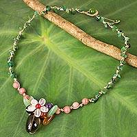 Multi-gemstone pendant necklace, 'Blossoming Daisy' - Colorful Multi-gemstone Pendant Necklace from Thailand