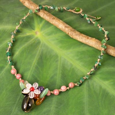 Multi-gemstone pendant necklace, 'Blossoming Daisy' - Colorful Multi-gemstone Pendant Necklace from Thailand