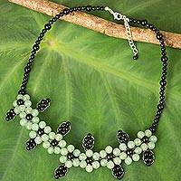 Quartz and onyx beaded necklace, 'Green Blossoms' - Hand Crafted Onyx and Quartz Beaded Necklace from Thailand