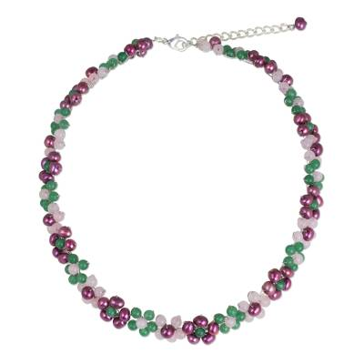 Artisan Crafted Pearl and Quartz Beaded Floral Necklace
