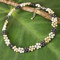 Cultured pearl choker, 'Pearl Blossoms' - Handmade Cultured Freshwater Pearl Choker Necklace
