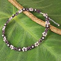 Multi-gemstone choker, 'Gemstone Garden' - Artisan Crafted Gemstone Beaded Necklace with Floral Motif