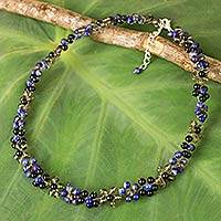 Multi-gemstone choker necklace, 'Royal Blue Garden' - Artisan Crafted Beaded Floral Necklace with Gemstones