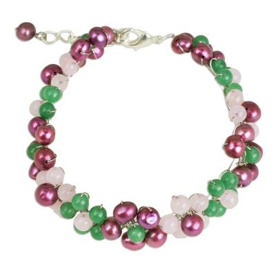 Handmade Adjustable Pearl and Quartz Beaded Bracelet