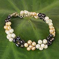 Cultured pearl beaded bracelet, 'Blossoming Pearls' - Hand Crafted Cultured Pearl Bracelet from Thailand
