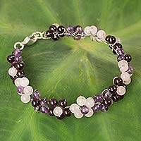 Multi-gemstone beaded bracelet, 'Plum Blossoms' - Artisan Crafted Gemstone Beaded Floral Adjustable Bracelet