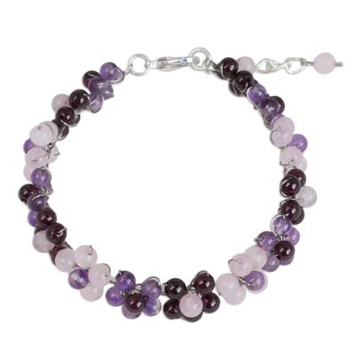Artisan Crafted Gemstone Beaded Floral Adjustable Bracelet