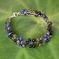 Multi-gemstone beaded bracelet, 'Midnight Blossoms' - Hand Crafted Gemstone Beaded Floral Bracelet from Thailand