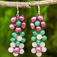 Cultured pearl and quartz dangle earrings, 'Blooming Rainbow'
