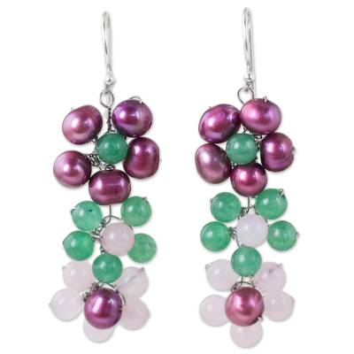 Hand Crafted Cultured Pearl and Quartz Dangle Earrings