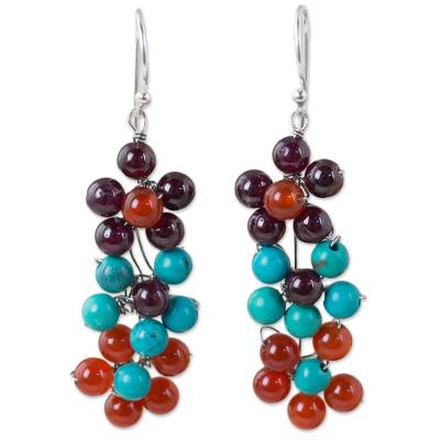 Hand Crafted Multi-gemstone Floral Dangle Earrings
