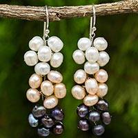 Cultured freshwater pearl dangle earrings, 'Blooming Pearls' - Handmade Cultured Pearl Dangle Earrings with Floral Motif